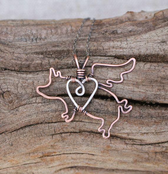Flying Pig Necklace Copper Sterling Silver door Karismabykarajewelry