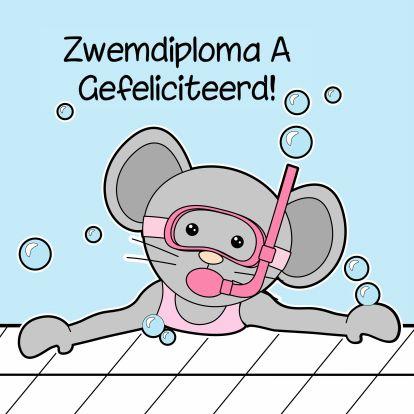 Zwemdiploma gehaald - by GIJNig - Felicitatiekaarten - Kaartje2go - gefeliciteerd - zwemmen - afzwemmen - zwembad - diploma - A - muis - snorkelen - Esther van Gijn