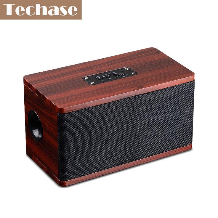 >> Click to Buy << Techase Wooden Bluetooth Speaker Subwoofer 10W Portable Super Bass Wireless Mini Caixa De Som Para Celular TF Card AUX Speakers #Affiliate