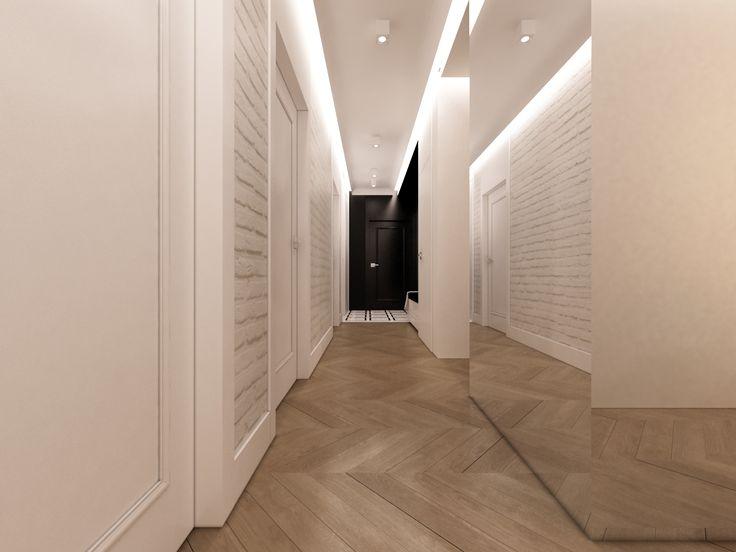 Ascetyczny Przedpokój. Ceglane białe ściany eklektyczny detal  , drewniany parkiet, z czarna ściana  w tle