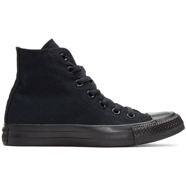 Converse Black Classic Chuck Taylor All Star OX High-Top Sneakers ($34) ❤ liked on Polyvore featuring shoes, sneakers, black, converse, canvas sneakers, black sneakers, converse shoes, converse high tops and black shoes