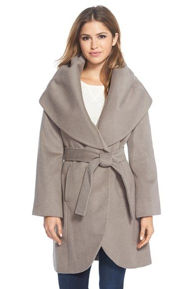 T+Tahari+Wool+Blend+Belted+Wrap+Coat+available+at+#Nordstrom