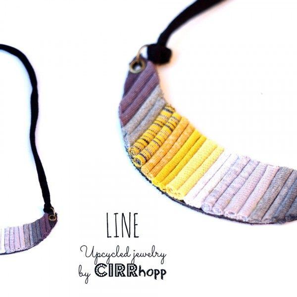 LINE nyaklánc - fekete/szürke/mustér / LINE necklace - black/grey/mustard