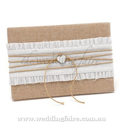 Romance & Rustic Guest Book - The Wedding Faire  natural burlap guest book with white, gathered cloth layer, twine and silver-tone heart.  records more than 700 signatures.  24cm x 16.5cm.
