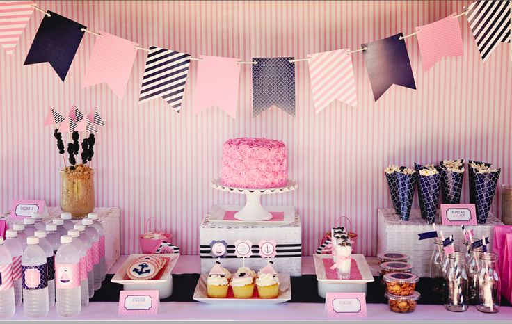 Simple + Chic: Pink & Navy Party Décor - love this banner~