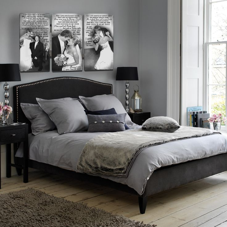 25 best ideas about grey bedroom decor on pinterest for Black and silver bedroom designs