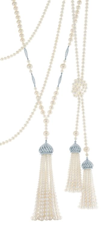 Tassel pendants of diamonds, freshwater cultured pearls and platinum. From The Great Gatsby collection by Tiffany & Co., inspired by Baz Luhrmann's film in collaboration with Catherine Martin.   Via The Jewellery Editor.