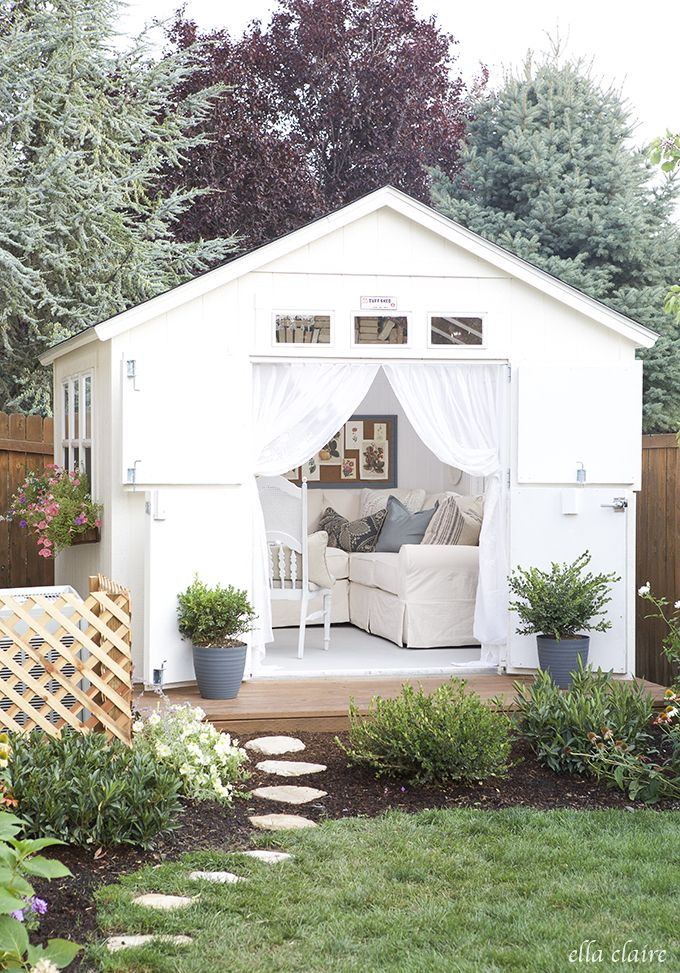 This DIY She Shed makeover has so many pretty details! You HAVE to see the inside!