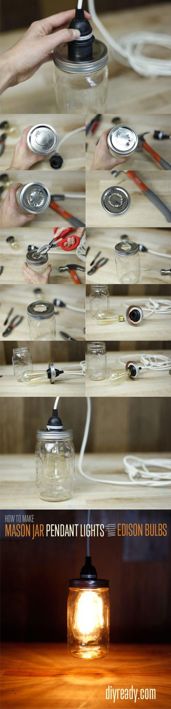 Lámpara con un tarro de vidrio / Via diyready.com: