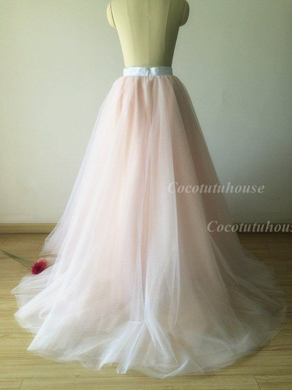 ba1fc0f13d5f Ombre color white/blush pink Tulle Skirt/Floor Length Tulle /Adult ...