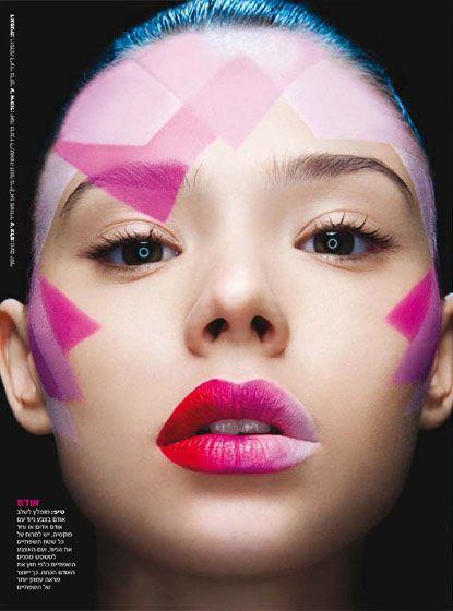 Glossy pink ombre lips by Natasha Denona.