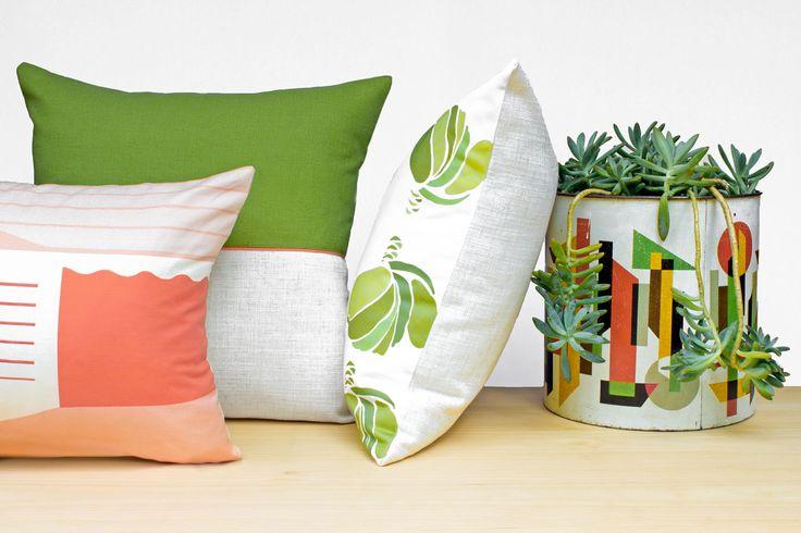 Modern Australian retro yeah! Garden green succulent cushion with a lobster colour hit.