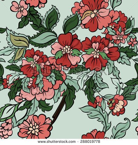 Beautiful floral seamless pattern with mint backdrop. Vector background. Flowers and leaves.