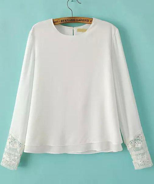 White Long Sleeve Lace Loose Chiffon Blouse 16.48