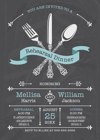 Cena de ensayo de boda invitación - ilustración de arte vectorial