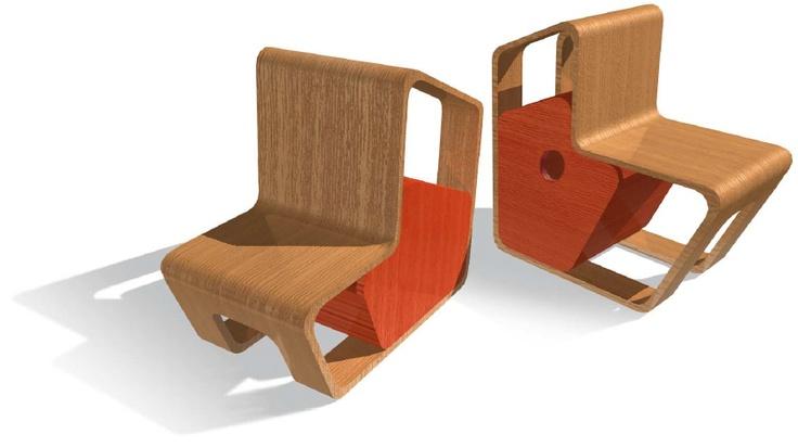 CONCURS MOBILIARI MANACOR  Cadira per a nens de dues posicions amb calaix.  Desenvolupat fins a maqueta.