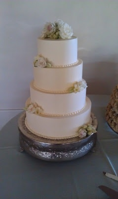 Simple Southwestern 4-tier wedding cake with succulents by Cherron K. (Santa Fe, NM)