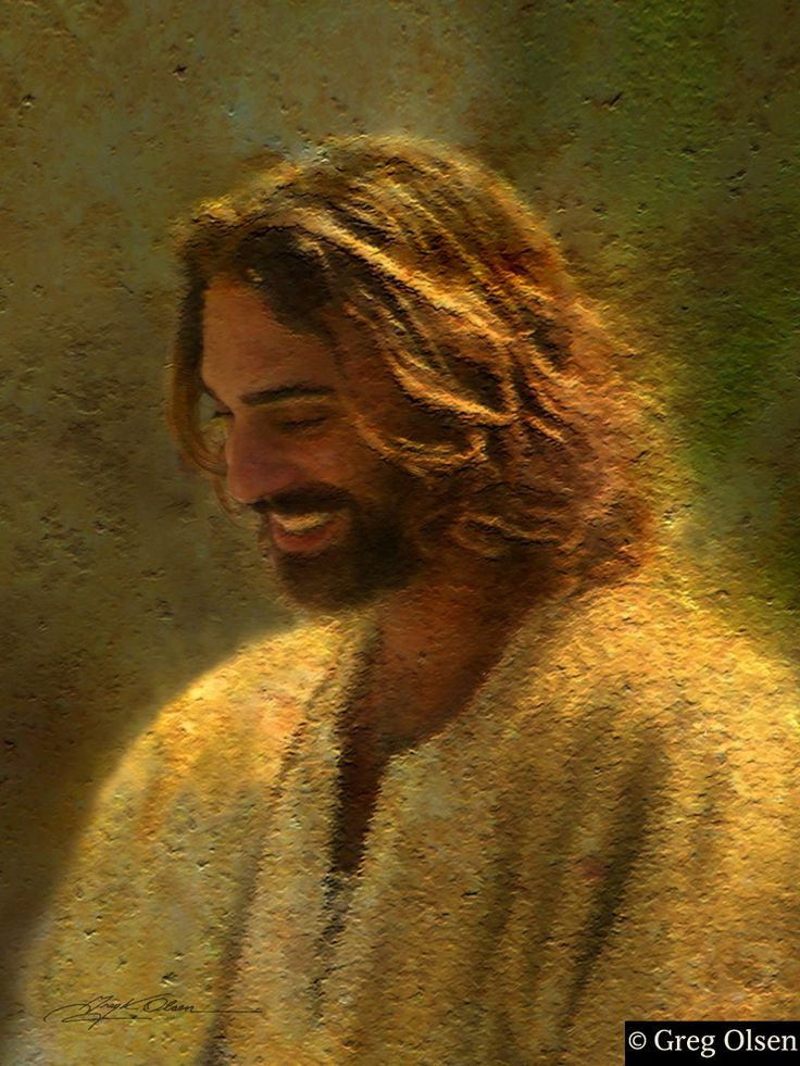 "Joy of the Lord by Greg Olsen...No one really knows what Jesus' human form looked like, but I love images of Jesus smiling. The message of salvation in Christ is a message of love bathed in joy. The very word gospel means ""good news, glad tidings."" ~ let's share that GOOD NEWS with everyone today!"