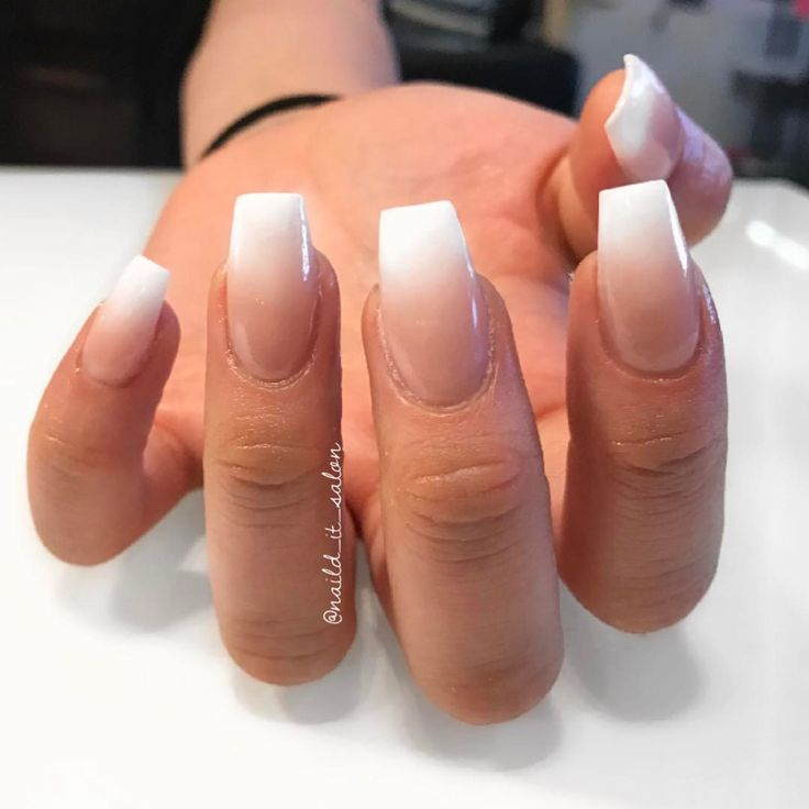 """44 Likes, 3 Comments - Nail'D It! (@naild_it_salon) on Instagram: """"White and nude ombre coffins #nailditsalon #naildithollywood #ombrenails #coffinnails"""""""