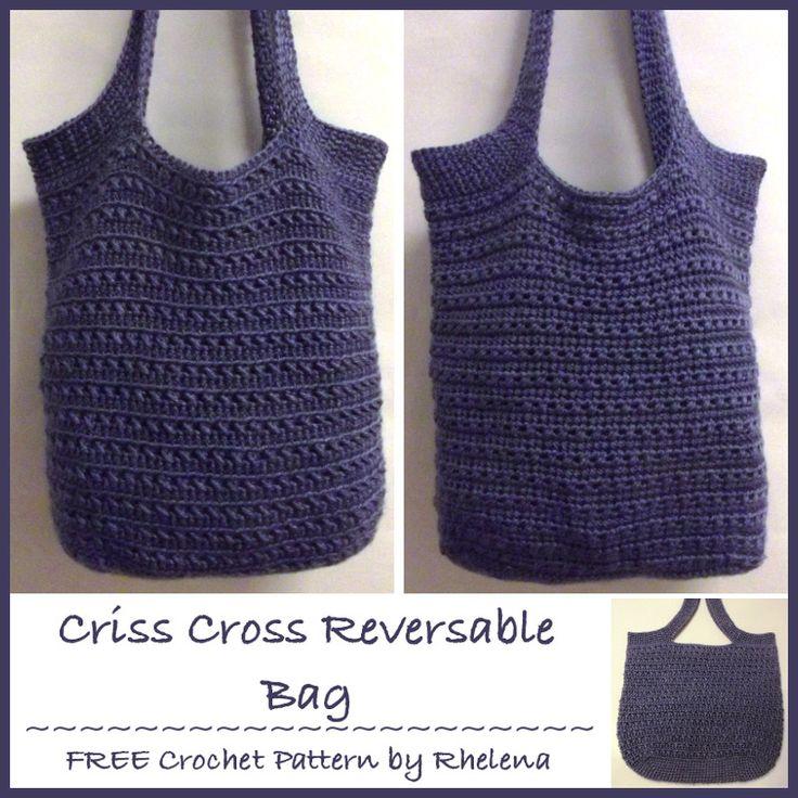 Criss Cross Reversible Bag ~ FREE crochet pattern