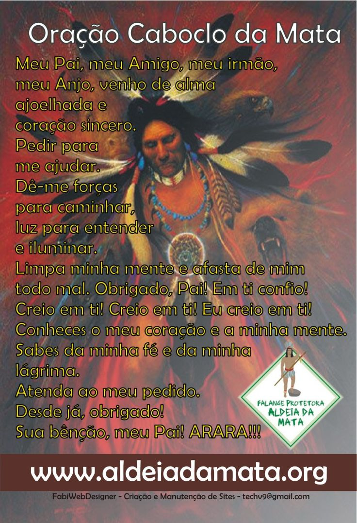 Bom dia! Oração Caboclo da Mata ARARA!!! Curta, Compartilhe e Convide seus amigos! (y) http://aldeiadamata.org/wp/?p=2029