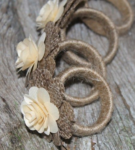 burlap large roses  | Rustic Napkin Rings Burlap and Wood Roses- Set of 4 | AccentsandPetals ...