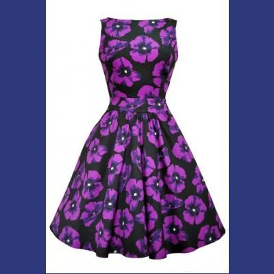 Vampire Violet Purple Poppy Tea Dress by Lady Vintage