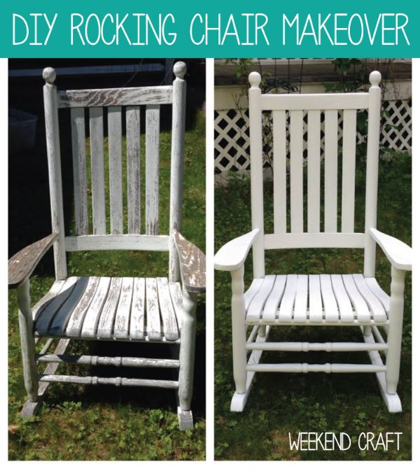Weekend Craft DIY Rocking Chair Makeover with White Stain to weather outdoor elements.