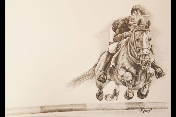 Sketch from photo taken at Bramham horse trials