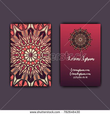Luxury business cards with floral mandala ornament. Vintage decorative elements.