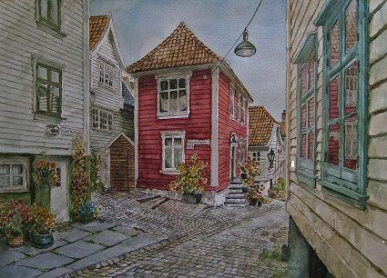 Kunstneren i Bergen: Det røde huset i Gamle Nøstegaten i Bergen