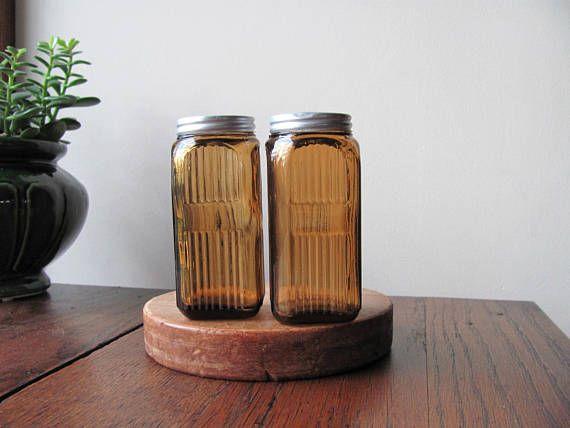 Vintage Hoosier Spice Jars Amber Glass Jar Ribbed Depression