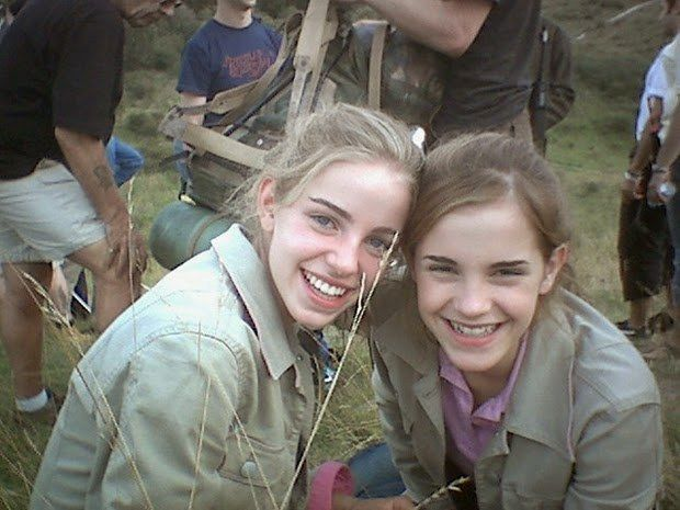 And to round out the Harry Potter crew, Emma Watson. | 36 Actors Hanging Out With Their Body Doubles