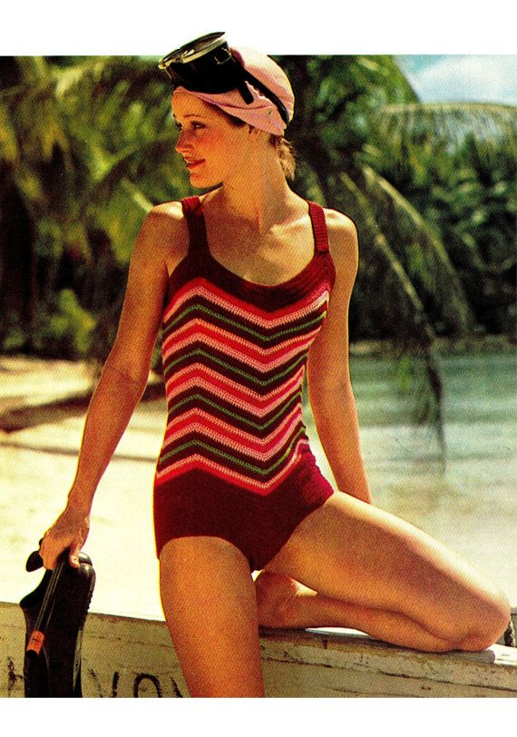 Vintage 70's Crochet Chevron Bathing Suit - PDF Pattern - INSTANT DOWNLOAD