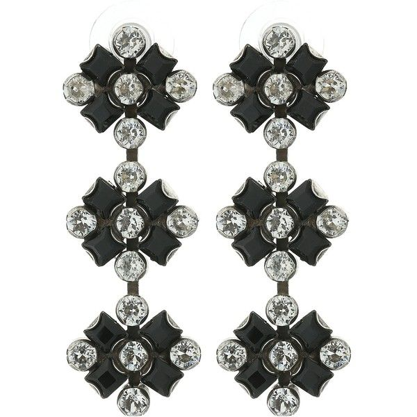 DANNIJO RIMINI Earrings (Ox Silver/Black/Nude) Earring ($277) ❤ liked on Polyvore featuring jewelry, earrings, silver, silver oxidised jewellery, silver oxidized jewellery, silver jewellery, oxidized jewellery and swarovski crystal jewelry