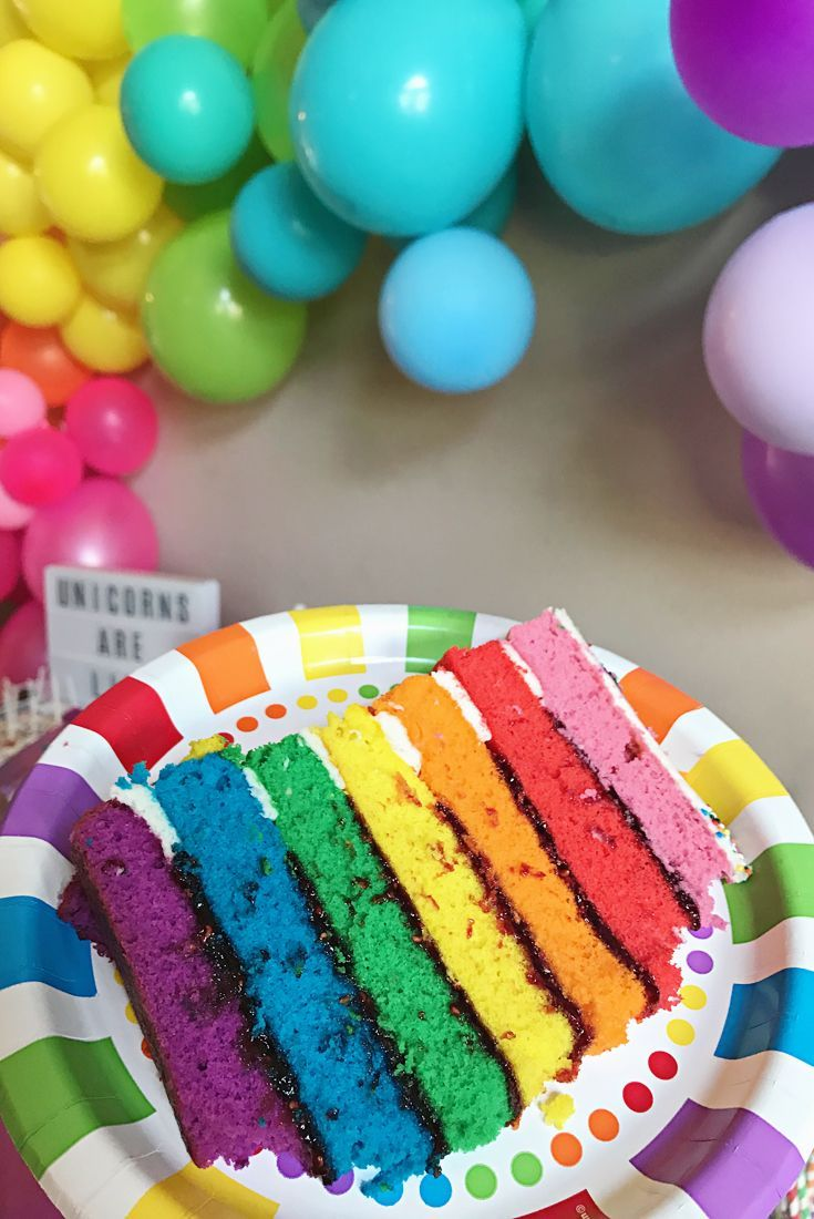 Unicorns aren't only for kids! Check out this SUPER FUN unicorn adult birthday party with a diy rainbow balloon arch, a colorful layered naked cake, and tons of cute rainbow food ideas and decorations! So many fun ideas!!