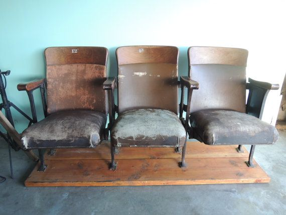 MID CENTURY Set of 3 Movie Theater Seats with Wood by HouseCandyLA