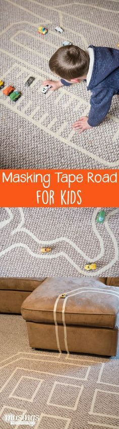 Masking Tape Road - this fun activity for kids is great for keeping kids busy on rainy days