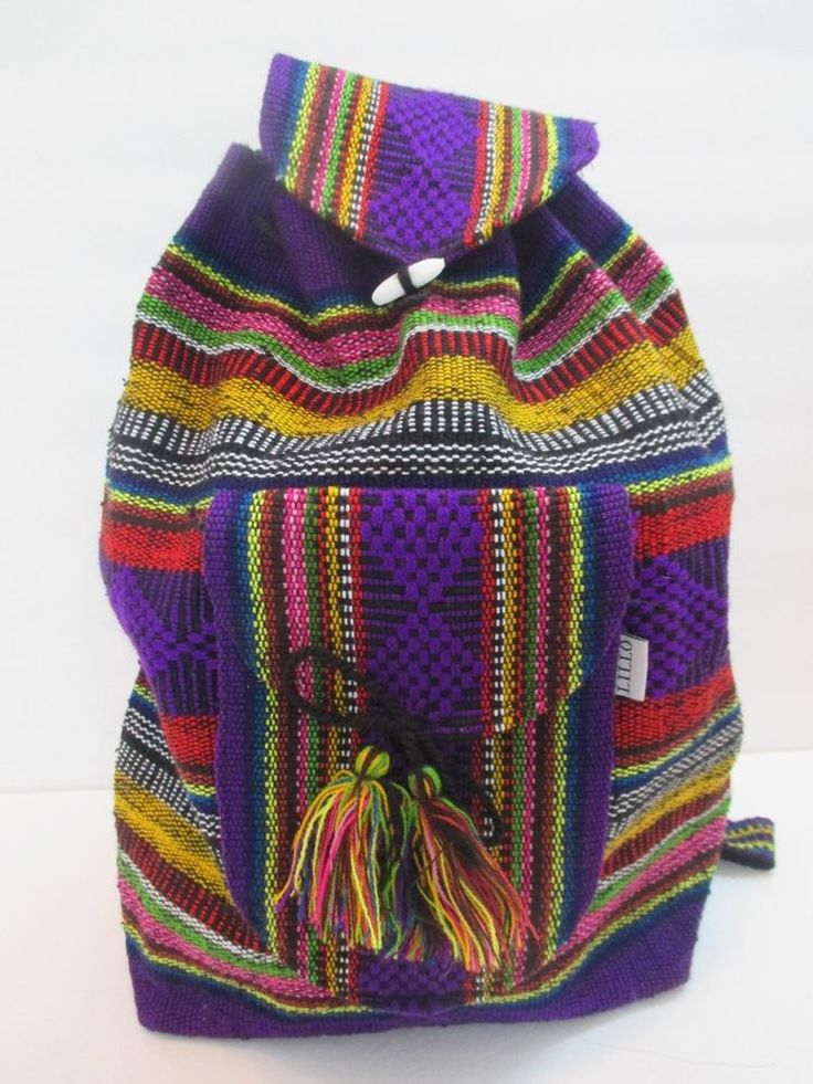 ARTESANIAS LILLO VINTAGE STYLE HANDWOVEN GUATEMALAN MEXICAN BACKPACK VIVID COLOR #Lillo #Backpack