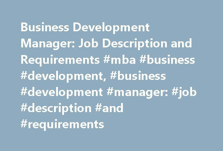 Business Development Manager Job Description And Requirements