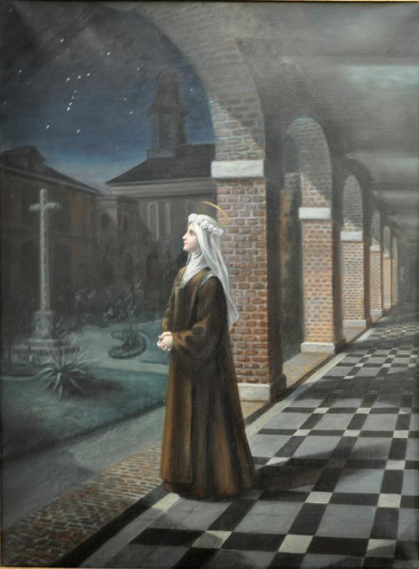 """Santa Teresinha do Menino Jesus, no dia de sua profissão simples, contemplando o céu, vê estrelas formando a letra """"T"""" de  Teresa. Sente que é uma singela homenagem do Céu."""