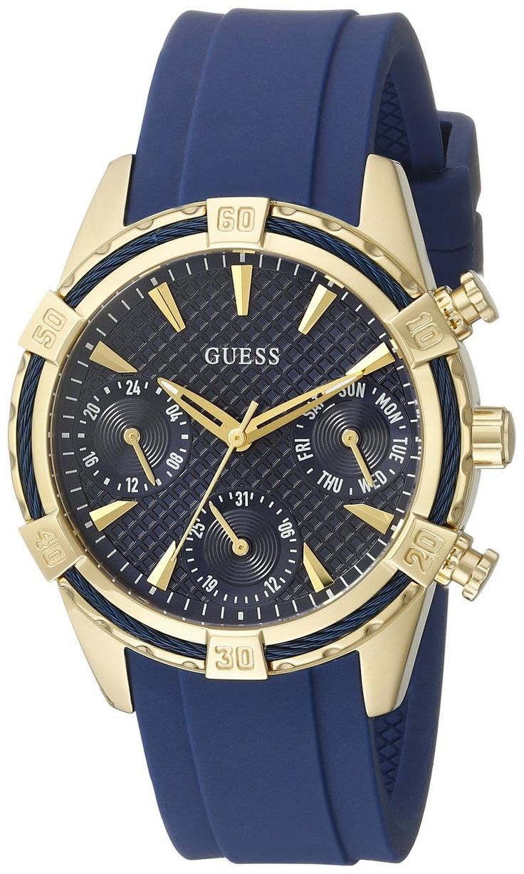 GUESS Women's U0562L2  Iconic Indigo Blue and Gold-Tone Multi-Function Watch with Comfortable Silicone Strap * For more information, visit image link.