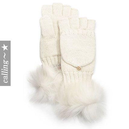 セレブ愛用者☆UGG Australia☆Nyla Flip-Top Metallic Mittens まるで雪を連想させるホワイトの手袋 シルバーの糸を編みこんでありキラキラ可愛い仕上がりになっています