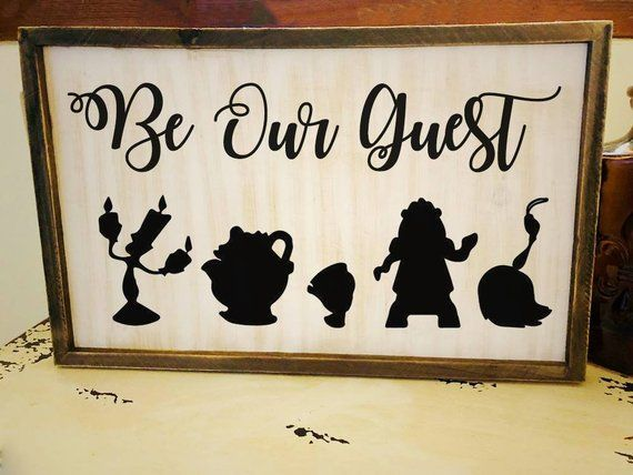 Be Our Guest Sign Disney Wood Sign Farmhouse Beauty And The Beast White Washed Sign Wood Decor Thi Disney Room Decor Disney Wall Decor Disney Home Decor