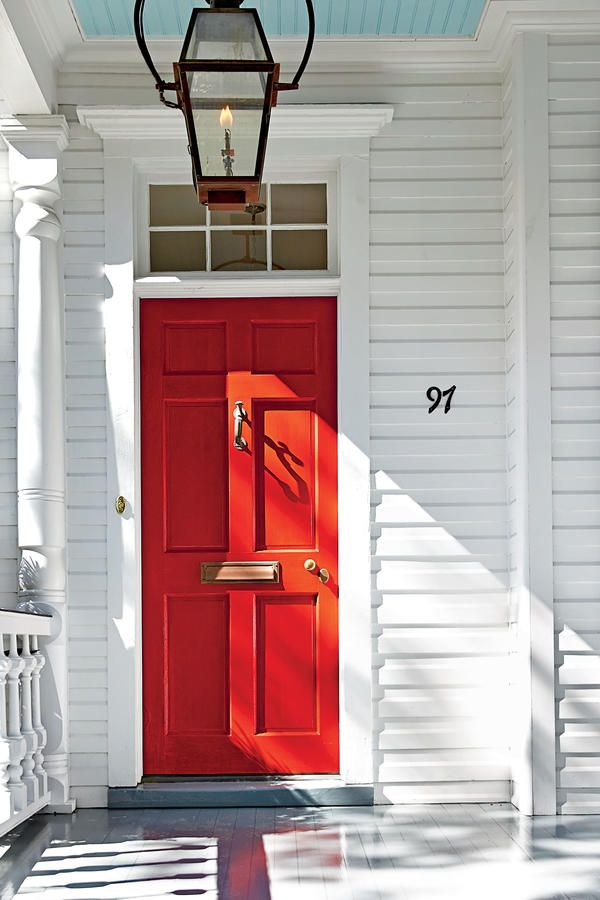 13 Bold Colors for Your Front Door: Charleston Bright Red Front Door