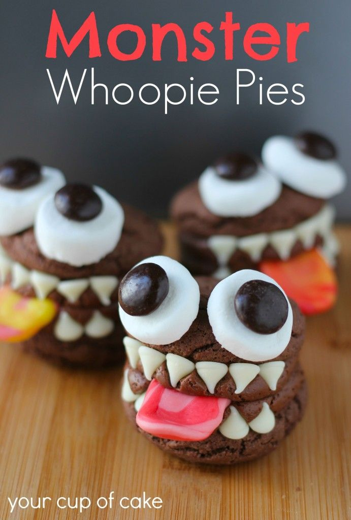 Clever! Monster Whoopie Pies with Starburst tongues, Junior Mint eyeballs, and white chocolate chip choppers.