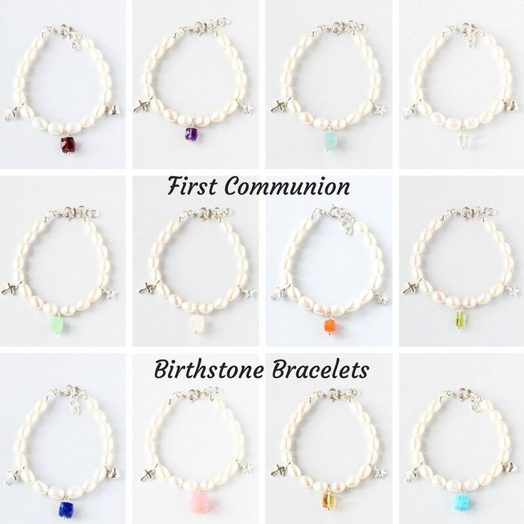 A new collection of birthstone bracelets for the First Communion. They are handmade with freshwater pearls and sterling silver charms. Make your little girl feel extra special on the day 💞.