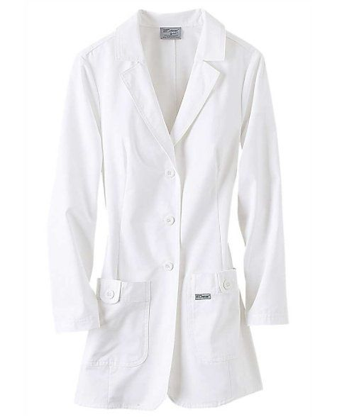 This fitted lab coat features button front styling, belt back detail, two button tab pockets, lower back vent, and front and back darts. 60% Cotton, 40% Polyester Peached Twill. Grey's Anatomy Women's 32 Inch 2 Pocket Lab Coats 3-button closure Notched collar 2 front patch pockets Tagless inside label 80% polyester/20% cotton peached twill Medium sleeve length: 23 3/4