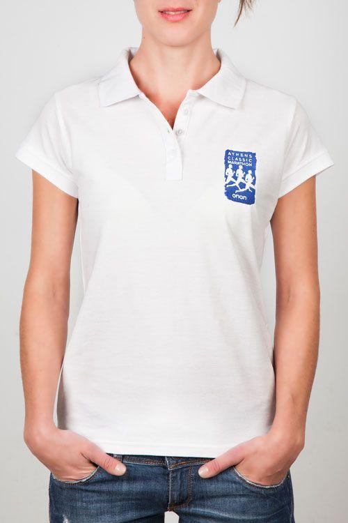 Women Polo Shirts : Ladies Polo White - ACM Logo