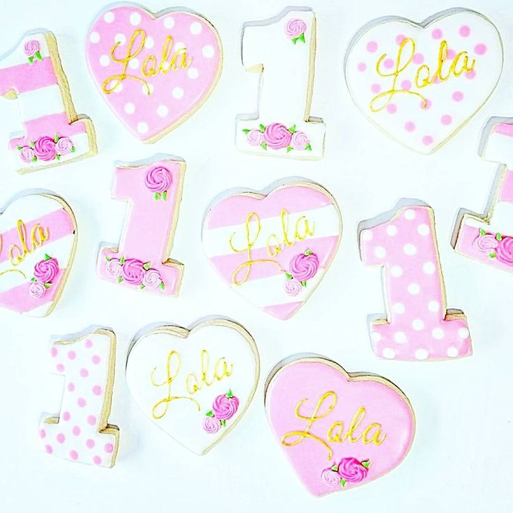 Pink and gold first birthday cookies